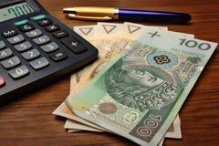 Pena da calculadora do dinheiro Foto de Stock Royalty Free