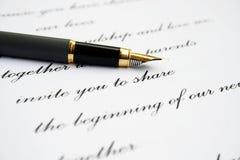 Pena da carta de amor e de fonte Imagens de Stock