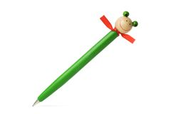 Pena de ballpoint de madeira isolada Imagem de Stock Royalty Free
