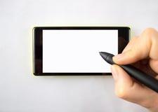 Pena de Digitas no smartphone Foto de Stock