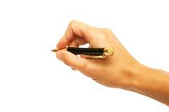 Pena de esfera em uma mão Imagem de Stock Royalty Free
