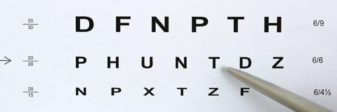 Pena de esferográfica de prata que aponta à letra na tabela da verificação da visão fotos de stock royalty free