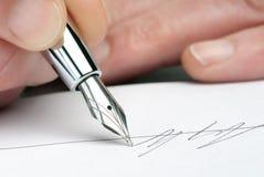 Pena de fonte com assinatura Fotografia de Stock