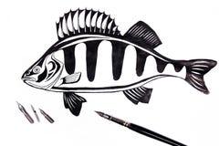 Pena de fonte com os peixes do desenho da tinta Imagens de Stock Royalty Free