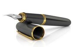 Pena de fonte no preto com ouro Fotografia de Stock