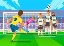 Pena de retroceso con el pie del futbolista Vector el ejemplo de la pena de retroceso con el pie del futbolista a la puerta del e stock de ilustración