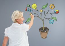 A pena de terra arrendada da mulher e o desenho de gráficos de negócio na planta ramificam na parede Imagem de Stock Royalty Free