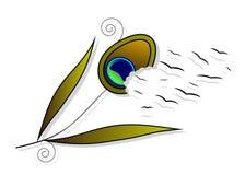 Pena do ícone de um pavão e de um pássaro ilustração stock