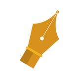 Pena dourada da ponta a escrever ilustração do vetor