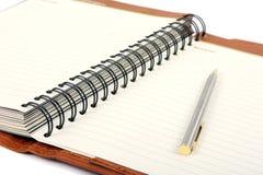 Pena e agenda aberta Foto de Stock