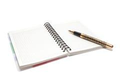 Pena e caderno Fotografia de Stock Royalty Free