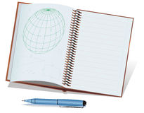 Pena e caderno verdes e azuis de ball-point Imagem de Stock Royalty Free