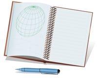 Pena e caderno verdes e azuis de ball-point Imagem de Stock Royalty Free