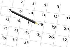 Pena e calendário Fotos de Stock