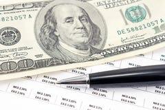Pena e cem notas de dólar Foto de Stock