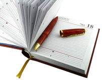 Pena e diário. Imagens de Stock
