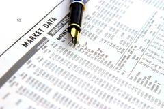 Pena e finança Imagem de Stock Royalty Free