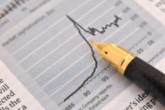 Pena e gráfico de fonte Imagem de Stock