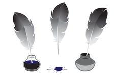 Pena e inkwells Imagem de Stock Royalty Free