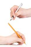 Pena e lápis amarelo Foto de Stock Royalty Free