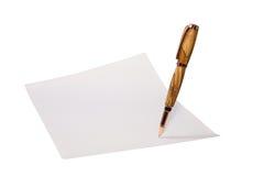 Pena e papel. Trajeto incluído Imagens de Stock Royalty Free
