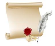 Pena e rolo com selo da cera ilustração do vetor