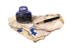 Pena e tinta de fonte Imagens de Stock Royalty Free