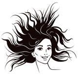 A pena e a tinta preto e branco denominam o retrato da fêmea da forma Attra ilustração do vetor