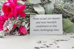 Pena, estando de luto, condolencias, condolencias sinceras, Mour Fotos de archivo libres de regalías