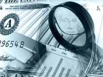 Pena, gráfico e magnifier (nos azuis) Imagens de Stock