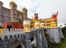 Pena Krajowy pałac, sławny punkt zwrotny w Sintra, Portugalia Fotografia Stock