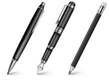 Pena, lápis, pena de fonte Foto de Stock Royalty Free