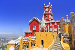 Pena National Palace above Sintra town. Portugal Royalty Free Stock Photo