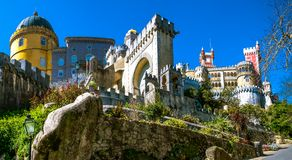 The Pena National Palace. Is the oldest palace inspired by European Romanticism. It is located in the civil parish of Sao Pedro de Penaferrim, municipality of Stock Photography