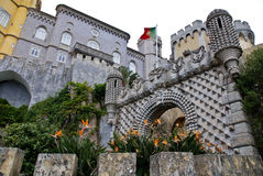 Pena National Palace in Sintra. Pena National Palace (Palacio Nacional da Pena)  the oldest palace inspired by European Romanticism. Located on the top of a hill Stock Images