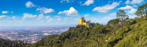 Pena National Palace in Sintra. Panoramic view of Pena National Palace in Sintra in a beautiful summer day, Portugal Royalty Free Stock Images