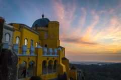 Pena National Palace in Sintra, Portugal (Palacio Nacional da Pena. Sintra, Portugal - November 21 2014: Pena National Palace in Sintra, Portugal (Palacio royalty free stock photo