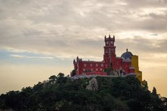 Pena National Palace in Sintra, Portugal (Palacio Nacional da Pena. Sintra, Portugal - November 21 2014: Pena National Palace in Sintra, Portugal (Palacio royalty free stock photography