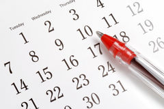 Pena no calendário Imagens de Stock