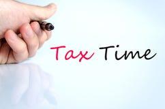Pena no conceito do tempo do imposto da mão fotos de stock