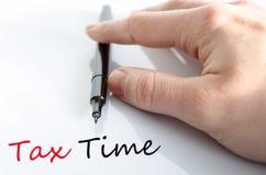 Pena no conceito do tempo do imposto da mão fotos de stock royalty free