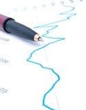 Pena no gráfico Imagens de Stock