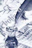 Pena no inkwell Foto de Stock