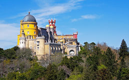 Pena Palace. View of the beautiful of Pena palace in the national park of the Sintra hills in Portugal Stock Photo