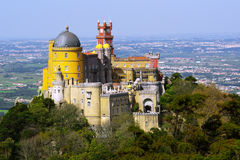 Pena Palace. Aerial view of the Pena Palace in Sintra National Park, Portugal Stock Photo