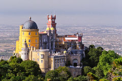 Pena Palace. Aerial view of the Pena Palace in Sintra National Park, Portugal Stock Photos