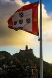 Pena Palace and Flag Stock Image
