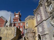 Pena palace in Portugal. View of the beautiful of Pena palace in the national park of the Sintra hills in Portugal Stock Photo