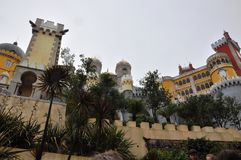 Pena Palace, Portugal. Sintra is known for its many 19th-century Romantic architectural monuments, which has resulted in its classification as a UNESCO World Royalty Free Stock Image