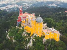The Pena Palace, a Romanticist castle in the municipality of Sintra, Portugal, Lisbon district, Grande Lisboa, aerial view, shot royalty free stock photography